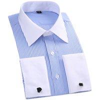 남성 프랑스의 커프스 단추셔츠 스트라이프 고체 브랜드 공식적인 남자의 셔츠 화이트 칼라 디자인 남성에 맞는 슬림 프랑스 커프 플러스 Size6XL5XL