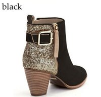 2019 Vintage-Ankle Booties Frau Schliesse Armbandlederstiefel Winter-Chunky Heel-Schuhe Fashion Sexy Pailletten Martin Stiefel Round Toe Schuhe