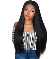 아기 헤어 말레이시아 블랙 여성을위한 스트레이트 긴 인간의 머리 가발 360 레이스 정면 가발 사전 뽑아