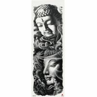 1 morceau de bouddhisme autocollant de tatouage temporaire avec bras Body Art grande manche grand faux autocollant de tatouage