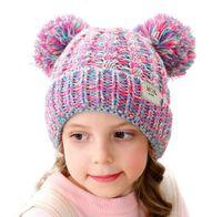 Multi Colores Niños Invierno Sombrero Cálido Bola Beanie Knit Crochet Boys Girls Hecho de punto Sombrero Cálido