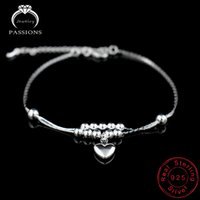 موضة جديدة القدم خلخال 925 السيدات الفضة الخلخال سلسلة سوار للنساء حب القلب قلادة القدم أساور مجوهرات