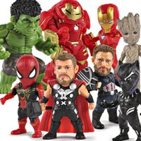 8 Pcs / set The Avengers 4 Super-héros Spider-Man Panthère Noire iron-Man Captain America Arbre-Homme Résine Action Figure de Collection Modèle Toyiron