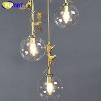 FUMAT الخرشوف الطيور الذهب زجاج الكرة مصباح السقف الثريا لولبية الدرج فيلا G4 LED الحديثة نمط السقيفة الطبقات أضواء