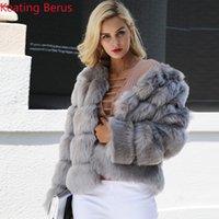 Женская зимняя зимняя берус из меха подделка фальшивая элегантная модная рубашка Slim 0616 теплая одежда пальто Gitvo