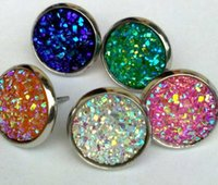 8mm 12mm Free Shipping Natural Druzy Stud Earrings with stone Druzy Wedding Bride Drusy Earrings