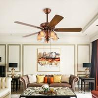 Популярный пульт дистанционного управления LED Fan Light стеклянный абажур деревянный потолочный вентилятор лампа Антикварная гостиная спальня ретро лампа E14