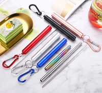 Colorful Portable Reusable Folding Drinking Straws Stainless...