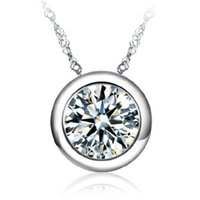 Round Cubic Zirconia Pendant Necklaces For Women Wedding Fashion Jewelry CZ Crystals From Swarovski Rhinestone Accessories Silver Color A33