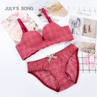 July's song neue plaid modale underwear set 3/4 tasse push up frauen bh set sexy spitze dame bow wire free dessous