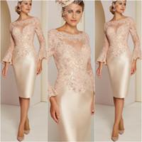 Длинные рукава короткие платья матери кружевная аппликация бисером длиной до колен формальное вечернее коктейльное платье Flare Mother of the Bride Dress