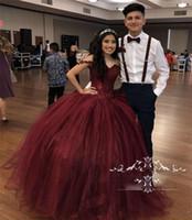 Bordo Tatlı 16 Masquerade Quinceanera Elbiseler 2018 Kapalı Omuz Balo Vintage Dantel Payetli Artı Boyutu Vestidos 15 Anos Balo Abiye