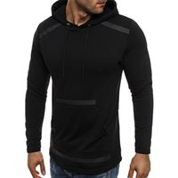 2018 New Style Fashion Herbst Herren Slim Fit Long Sleeve Muscle Mit Kapuze Mit Hut Tasche Solide Outwear