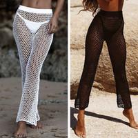 Crochet Mesh Бич брюки для женщин 2020 лето новых Эластичных бикини прикрывают Брюки высокой талии Длинного клеш Брюки Плавание Bottoms