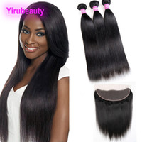 Malaysian Human Hair 3 Bundles With 13X4 Lace Frontal Pre Pl...