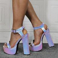 Talones Dipsloot Mujer láser Moda lavanda gruesos de la hebilla de la correa de las sandalias del verano Una línea plataforma del alto talón zapatos de las sandalias