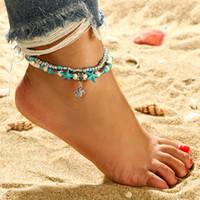 Bohemian Turtle Cavigliera Multistrato corda della cera Bead Tortoise cavigliera regolabile Summer Beach Feet Gioielli per la ragazza delle donne