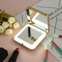 1pc LED maquillaje espejo de maquillaje maquillaje espejo cosmético con luces LED Lámparas + 4x magnificador HD 74 * 74 * 20mm