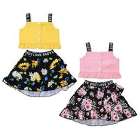 Sling Top + Floral Set Vestido Baby Girl Clothes florais Sling Vestido Top Saia 2pcs set Verão roupa Outfit
