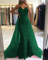 Emerald Green Dubai Vestidos de fiesta con tren desmontable Vintage v cuello sirena encaje árabe vestido de noche elegante delgado graduación graduación graduación junior graduación