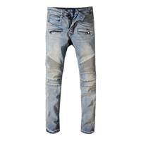 Erkek Yeni Stilist Kot Hip Hop Sıkıntılı Fermuar Jeans Erkekler Uydurma Kot Pantolon Boyutu 29-42
