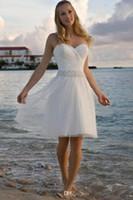 2019 Новый Высокое Качество Милая Горный Хрусталь Тюль Короткие Повседневные Пляжные Свадебные Платья Свадебное Платье Бесплатная Доставка 1295