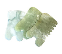 Herramienta Massager Cure Forma de jade natural de piedra de Guasha Gua Sha Masaje mano hacia atrás de la pierna del brazo del cuerpo Junta belleza del peine sano Relajación