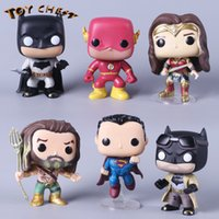 TOY CHEST Marca Funko POP Justice League Catoon Anime Modelo Toy Bat Man Wonder Woman Super Man Figura de acción Muñeca coleccionable para niños