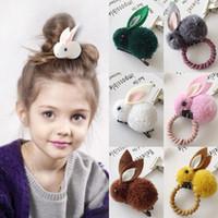 3D Conejo Hairbands Panalera de cola de caballo Cuerda 12 Estilos Niños Niños Chicas Encantador Conejo Cojín de cabello Mujeres Creativo lindo Accesorios para el cabello EJY744