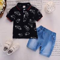 2019 새로운 소년 짧은 소매 의류 세트 소년면 옷깃 프린트 티셔츠 + 바지 2 개 어린이 옷 정장