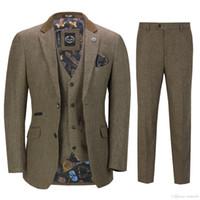 Мужская 3 шт твидовый костюм проверить ретро остроконечные шоры с учетом подходят Лучшие мужские костюмы (куртка+брюки+жилет) горячая продажа