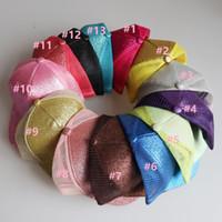 30pcsAdult contínuo liso Rabo de beisebol desarrumado Buns chapéu Pony Trucker Caps Dad Lantejoula Glitter boné verão ao ar livre snapbacks 13 cores
