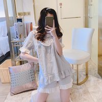 Princesa pijama dulce lolita de verano de algodón puro de la princesa estudiantes de manga corta de encaje dulce de verano pijamas delgados MHH 31