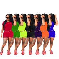 النساء ممزق رياضية بلون 2 قطعة مجموعة قصيرة الأكمام تي شيرت + الجوف خارج السراويل أزياء الصيف الملابس عارضة عداء ببطء 2927