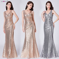 Formal Evening Dresses V Neck Ever Pretty EP07405 Long Silve...