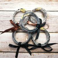 65 мм 5 шт. / компл. всепогодный Гепард Леопард искусственной кожи трубки желе браслет набор женщин бантом заполнены сложены желе браслеты браслеты