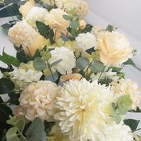 DIY 꽃 행 Acanthosphere 로즈 유칼립투스 웨딩 장식 꽃 장미 모란 수국 식물 믹스 꽃 아치 인공 꽃 행