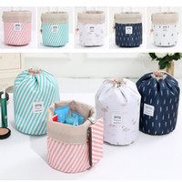 Women Cosmetic Bag Barrel Shaped Makeup Bags Drawstring Trav...