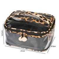3pc / set di modo delle donne cerniera Leopard Print Cosmetic Bag a tre pezzi in PVC trasparente Bag multi-funzione impermeabile grande capacità Storage Bag