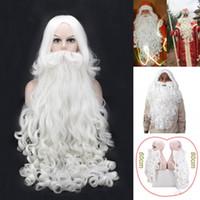 Erkekler Beyaz postiş Aksesuarları Santa Sakal 80cm için Noel Hediyesi Noel Baba Peruk ve Sakal Sentetik Saç Kısa Cosplay Peruk