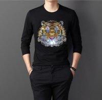 Diamantes de imitación 2020 primavera otoño Casual hombres Camiseta larga color sólido taladro caliente hombres camisas largas 02