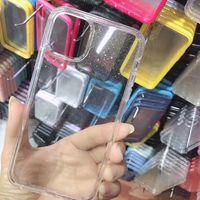 Per iPhone 12 11 XS MAX XR 7/8 Double Anti caduta colore del materiale cassa trasparente moda e semplice TPU trasparente di protezione cellulare