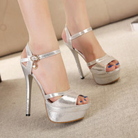 Été Rome Style Mode 14 cm Femmes Sandales Plate-forme Talons Hauts Sandales Luxueux Or Argent Chaussures De Madame