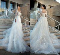 2020 Vintage Langarm Hochzeitskleid abnehmbar A Line Appliques Sheer Scoop Halsausschnitt Langbrutkleid Boho Formal Vestidos de Noiva