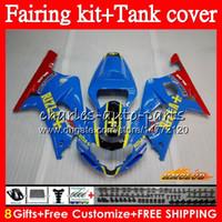 Cuerpo + tanque para SUZUKI GSXR600 K1 GSXR750 GSXR600 01 02 03 65HC.31 GSXR 600 750 CC rizla azul GSX R750 GSXR750 2001 2002 2003 carenado kit