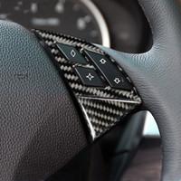Araba İç Aksesuarları Karbon Fiber Direksiyon Düğmeleri Çerçeve Kapak Çıkartmaları BMW 5 SERİSİ E60 2005-2010 için Araba Styling