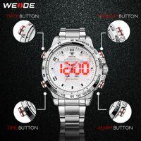 CWP 2021 Weide Watch Hombre Sport Back Light LED Pantalla Analógica Alarma Automático Automático Ejército Militar Correa de acero inoxidable Cuarzo Relogio Masculino