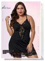 Большой белье Сексуальное кружево женщин Sexy Пижама Спагетти ремень крест платья Donna Глубокий V шеи Повесьте белье XL-5XL