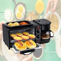 Elétrico 3 em 1 hóspedes equipamento multifunções Mini Drip americana Cafeteira Forno de Pizza Egg Omelette Frigideira Torradeira
