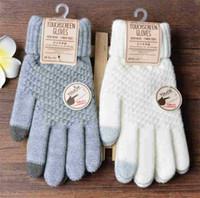 Inverno luvas do toque de tela Mulheres Homens lã quente estiramento Knit Mittens Imitação Dedo completa Luvas Feminino Crochet Luvas Thicken T590